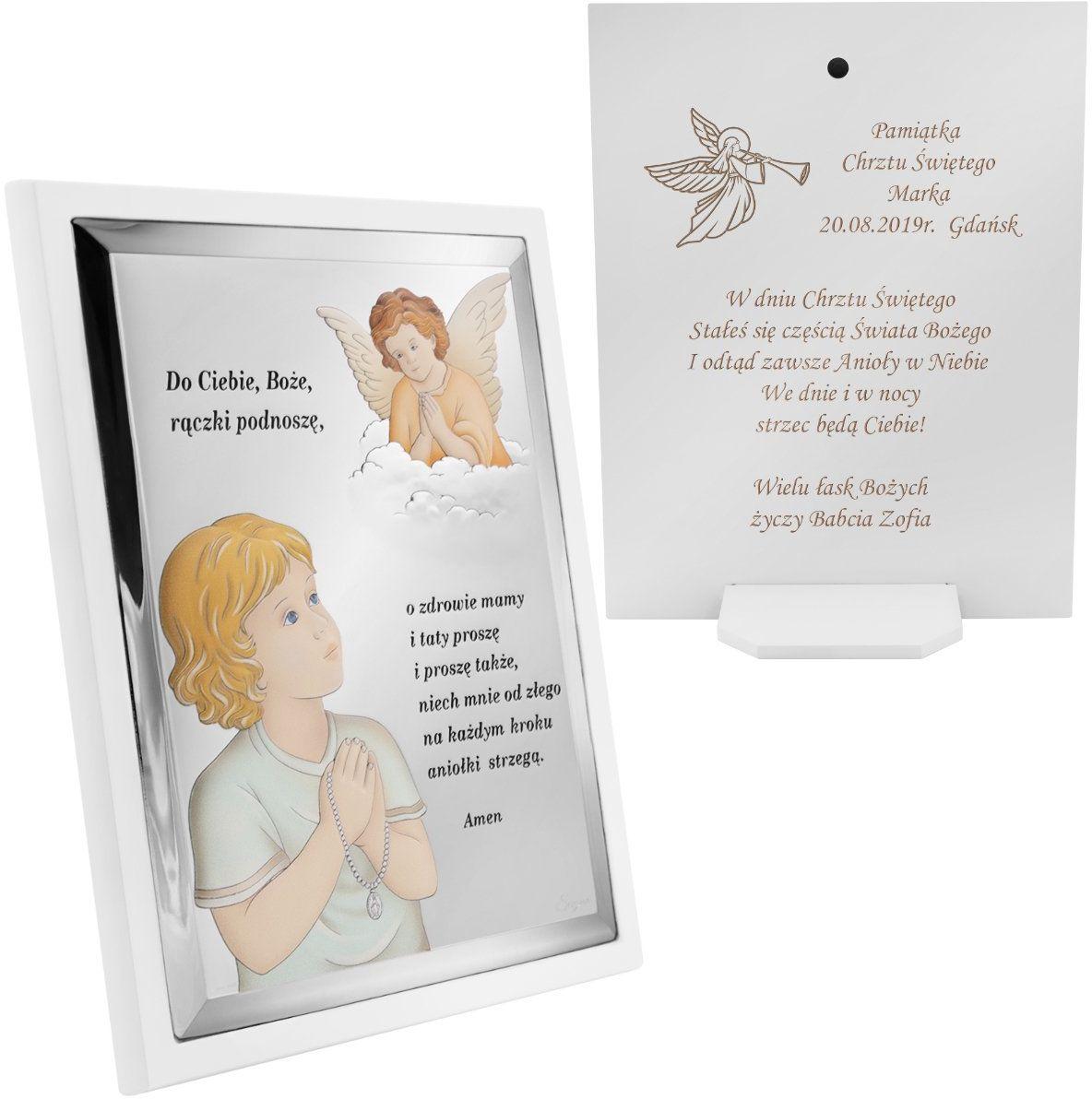 Srebrny obrazek na białym panelu Anioł Stróż z modlitwą Pamiątka Chrztu Św. z Grawerem