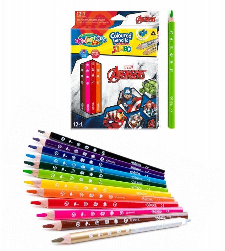 Kredki trójkątne Jumbo 13 kolorów Avengers Colorino 6482-KREDKI-JUMBO-AVENGERS