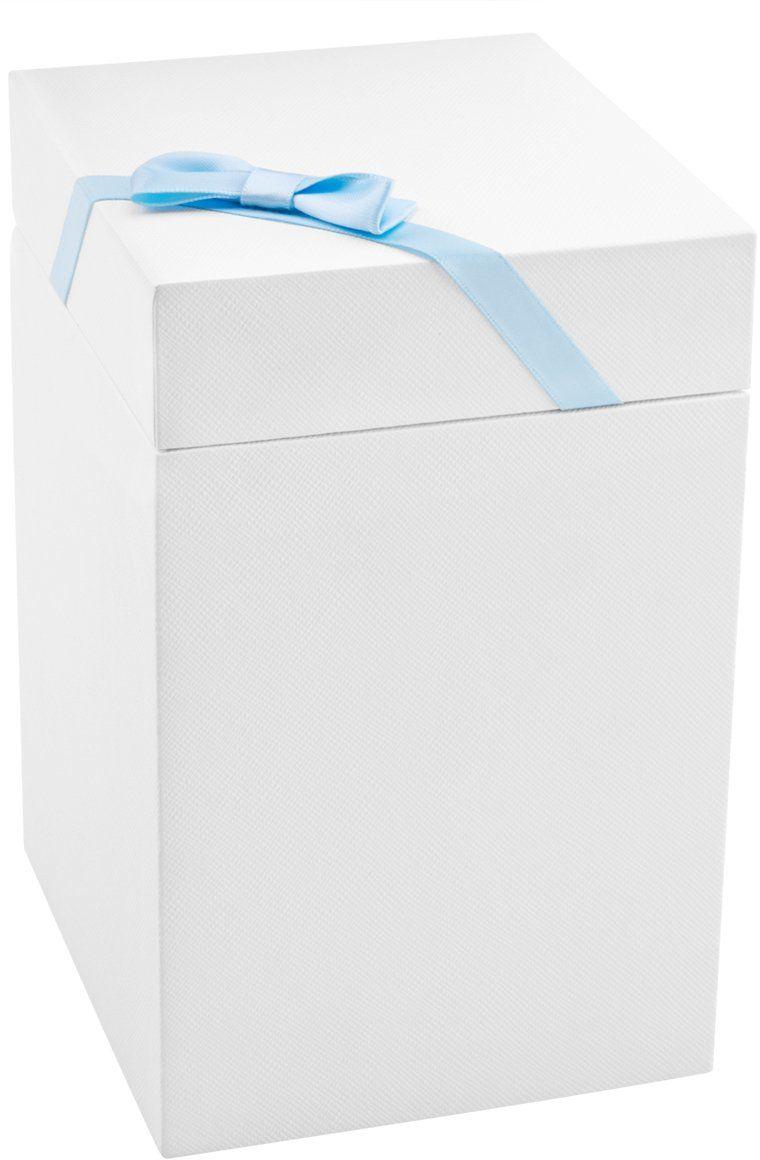 Pudełko prezentowe białe 10x10x17 z niebieską tasiemką