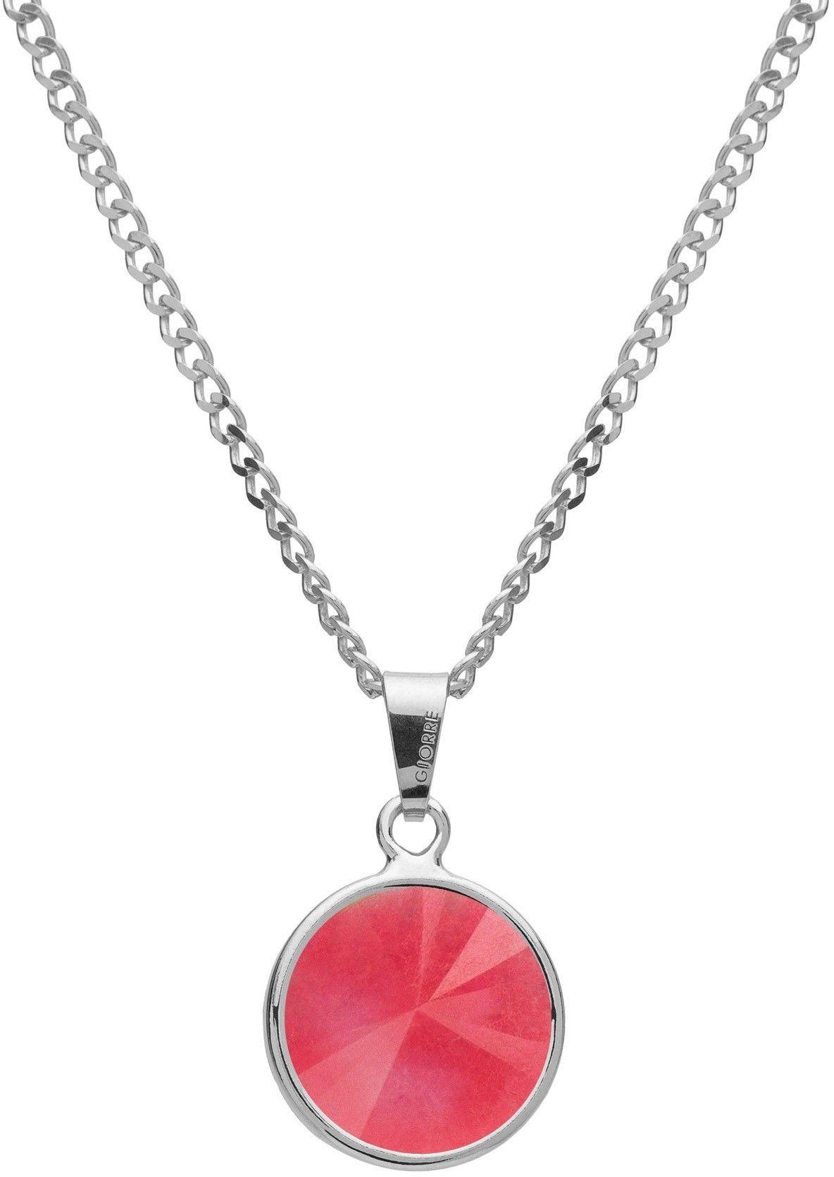 Srebrny naszyjnik z naturalnym kamieniem - jadeit, srebro 925 : Długość (cm) - 40 + 5 , Kamienie naturalne - kolor - jadeit różowy, Srebro - kolor pokrycia - Pokrycie platyną