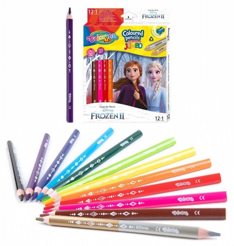 Kredki trójkątne Jumbo 13 kolorów Frozen II Colorino 6484-KREDKI-JUMBO-FROZEN