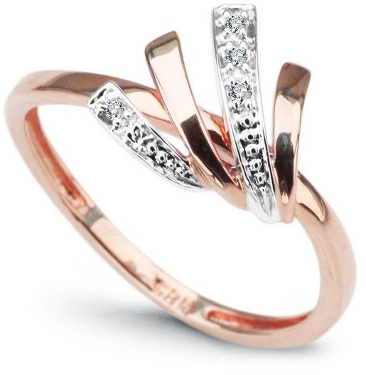 Staviori pierścionek. 5 diamentów, szlif achtkant, masa 0,03 ct., barwa h, czystość i1. białe, różowe złoto 0,585. średnica korony ok. 10 mm. szerokość obrączki ok. 1,5 mm.