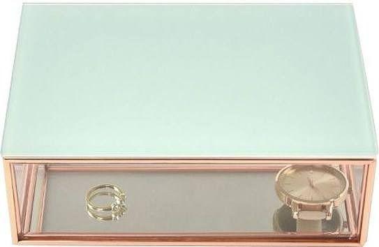 Szkatułka na biżuterię stackers mini miętowa szklana