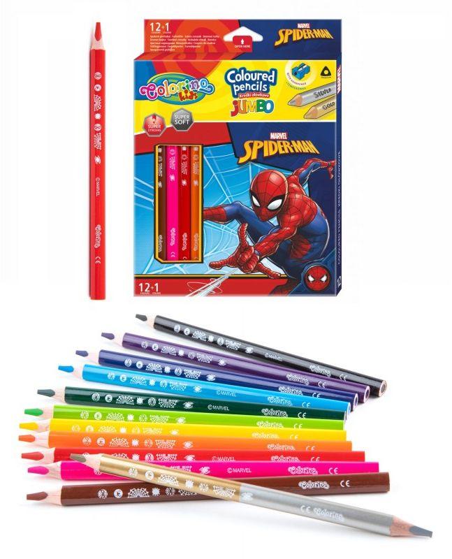 Kredki trójkątne Jumbo 13 kolorów Spiderman Colorino 6485-KREDKI-JUMBO-SPIDERMAN
