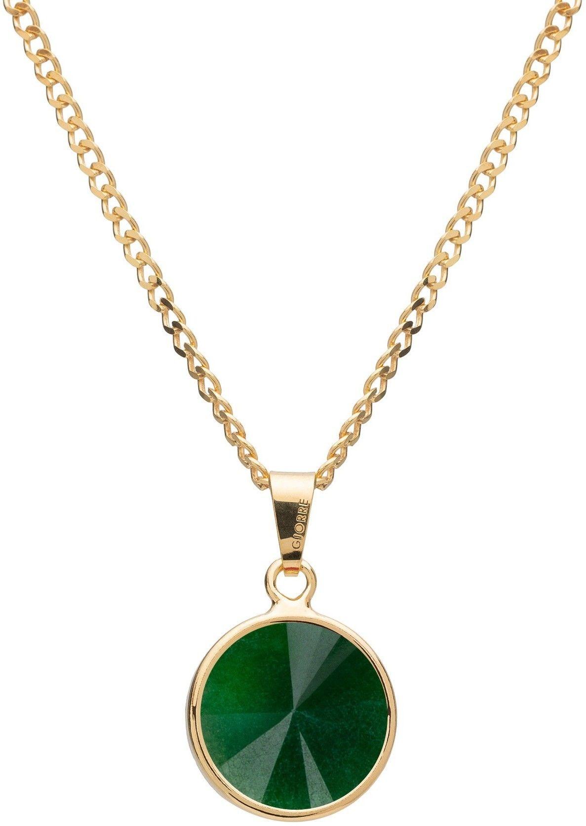 Srebrny naszyjnik z naturalnym kamieniem - jadeit, srebro 925 : Długość (cm) - 40 + 5 , Kamienie naturalne - kolor - jadeit zielony ciemny, Srebro - kolor pokrycia - Pokrycie żółtym 18K złotem