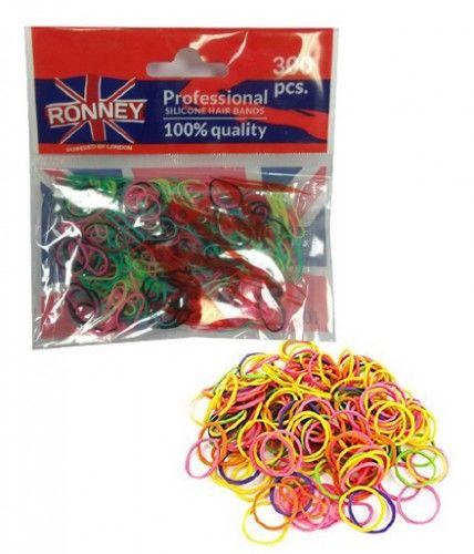 Ronney silikonowe gumki do włosów 300 szt. kolorowe