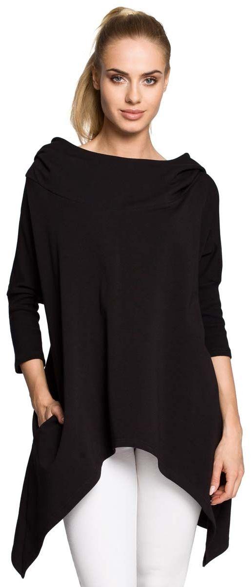 Czarna asymetryczna narzutka - peleryna z kapturem