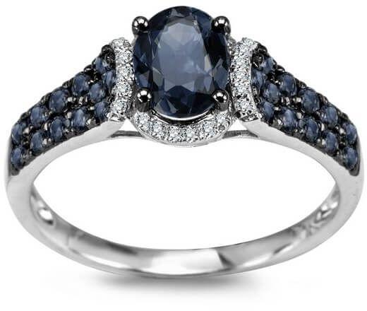 Staviori pierścionek białe złoto 0,585. 28 diamentów, szlif brylantowy, masa 0,055 ct., barwa h-i, czystość i1-i2. 25 szafirów, masa 1,30 ct..
