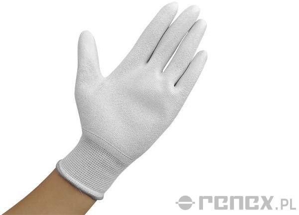 Rękawiczki ESD z warstwą antypoślizgową na całej powierzchni dłoni, białe, rozmiar S