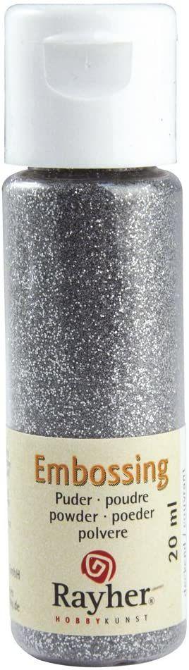 RAYHER 28000610, puder do embossingu, butelka 20 ml, okulary, kryjący, srebrny