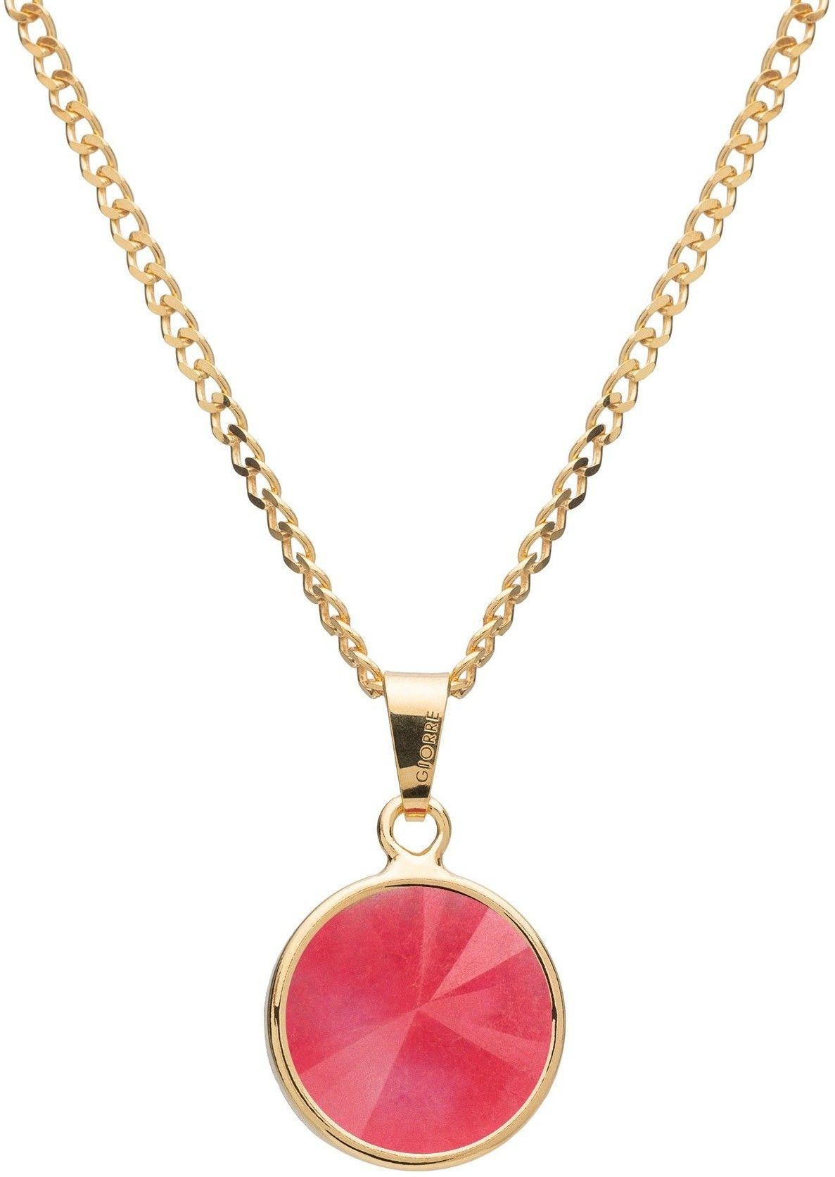 Srebrny naszyjnik z naturalnym kamieniem - jadeit, srebro 925 : Długość (cm) - 40 + 5 , Kamienie naturalne - kolor - jadeit różowy, Srebro - kolor pokrycia - Pokrycie żółtym 18K złotem