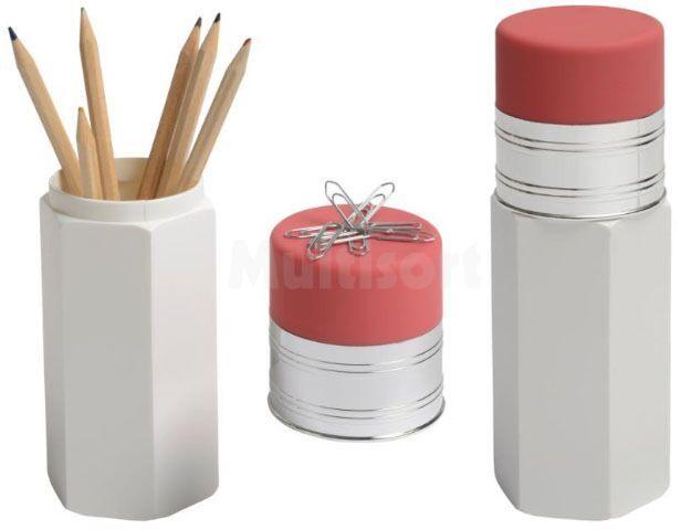 Przybornik biurowy w kształcie ołówka z gumką