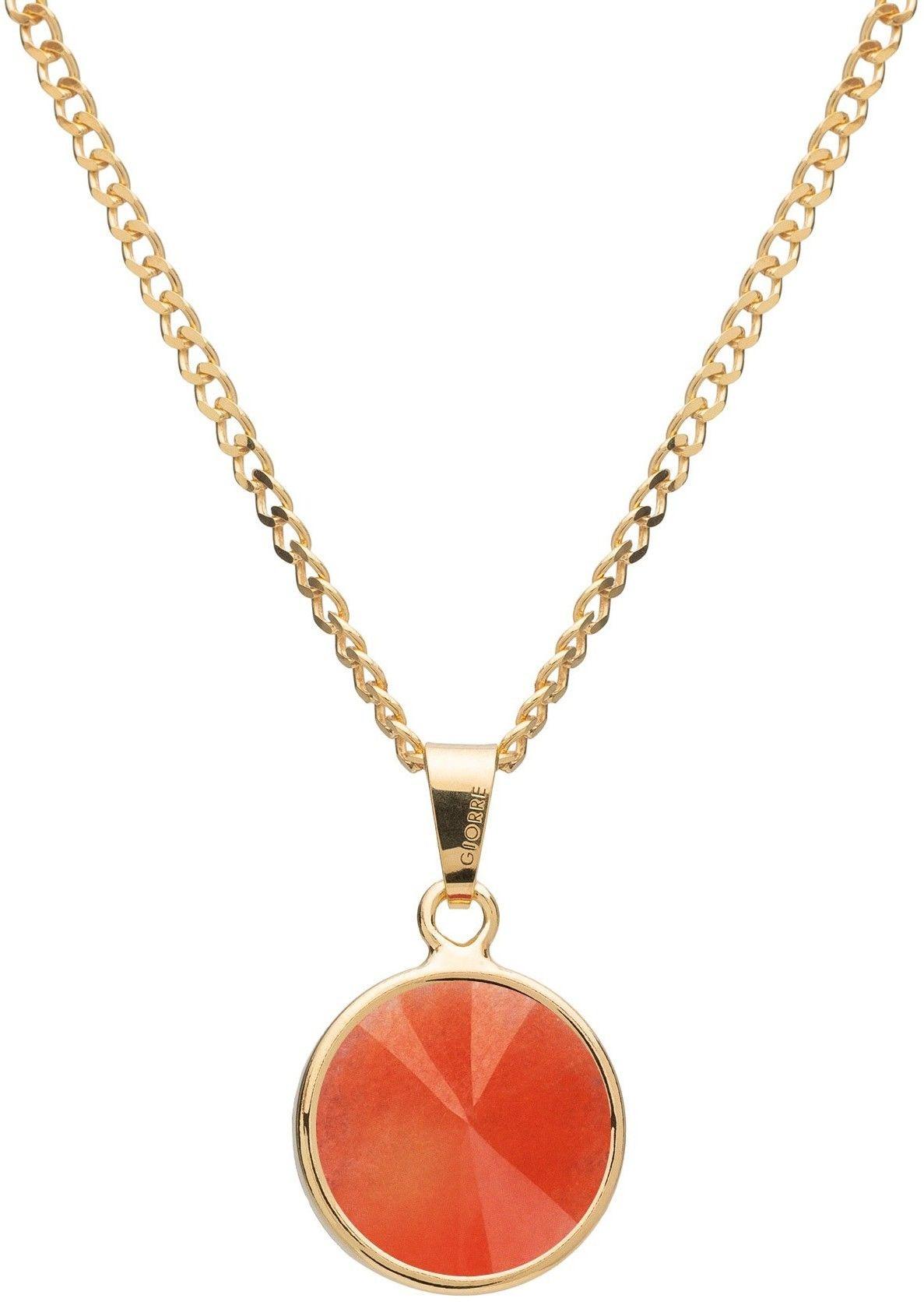 Srebrny naszyjnik z naturalnym kamieniem - jadeit, srebro 925 : Długość (cm) - 40 + 5 , Kamienie naturalne - kolor - jadeit pomarańczowy, Srebro - kolor pokrycia - Pokrycie żółtym 18K złotem