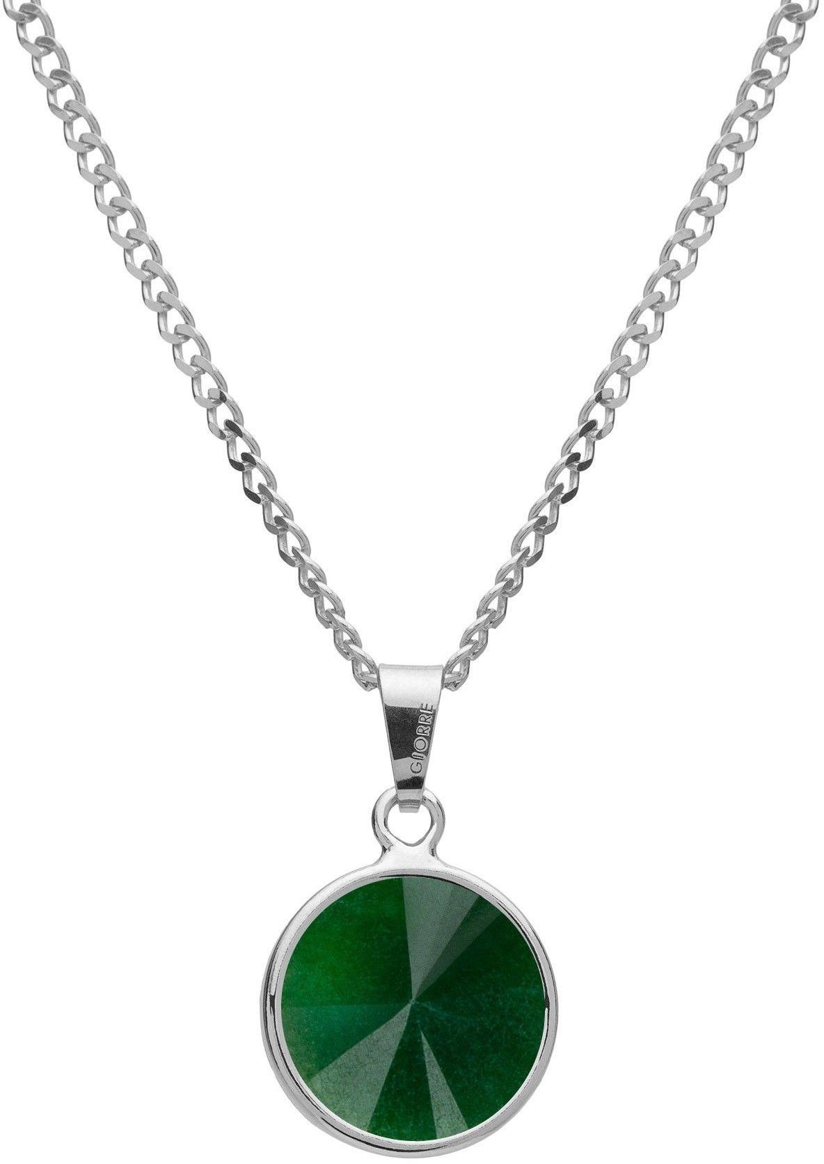 Srebrny naszyjnik z naturalnym kamieniem - jadeit, srebro 925 : Długość (cm) - 40 + 5 , Kamienie naturalne - kolor - jadeit zielony ciemny, Srebro - kolor pokrycia - Pokrycie platyną