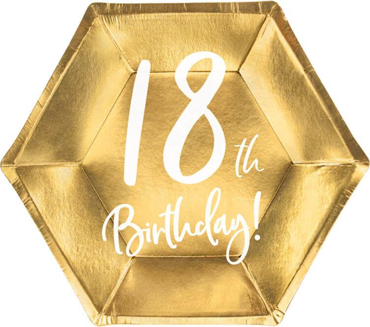 Talerzyki na osiemnaste urodziny złote - 20 cm - 6 szt.