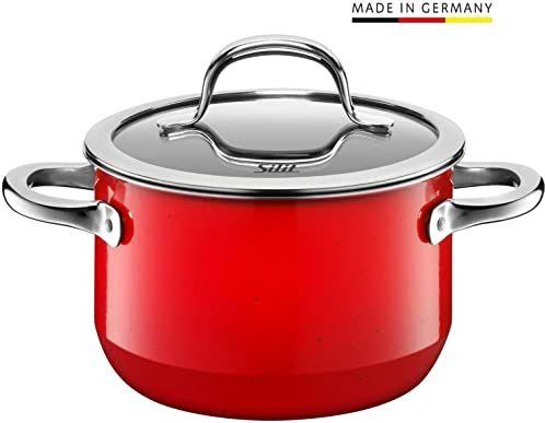 Silit Passion Red garnek do gotowania/- mięsa, wysoki, 16 cm, szklana pokrywka, 2,0 l, ceramika funkcyjna Silargan, indukcja garnka, czerwony