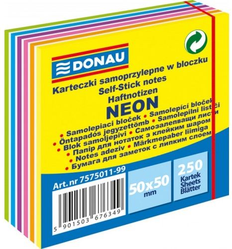 Karteczki samoprzylepne DONAU 50x50 neon mix kolorów (250) 7575011-99