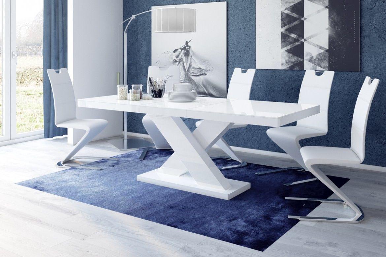 Stół rozkładany Xenon biały wysoki połysk