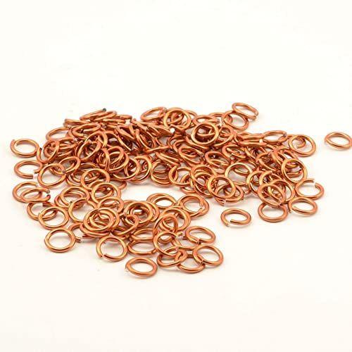 Vaessen Creative Alu Deco zginane pierścienie 10 mm 135 sztuk, aluminium, pomarańczowa miedź, 1 x 1 x 0,2 cm, 135 sztuk