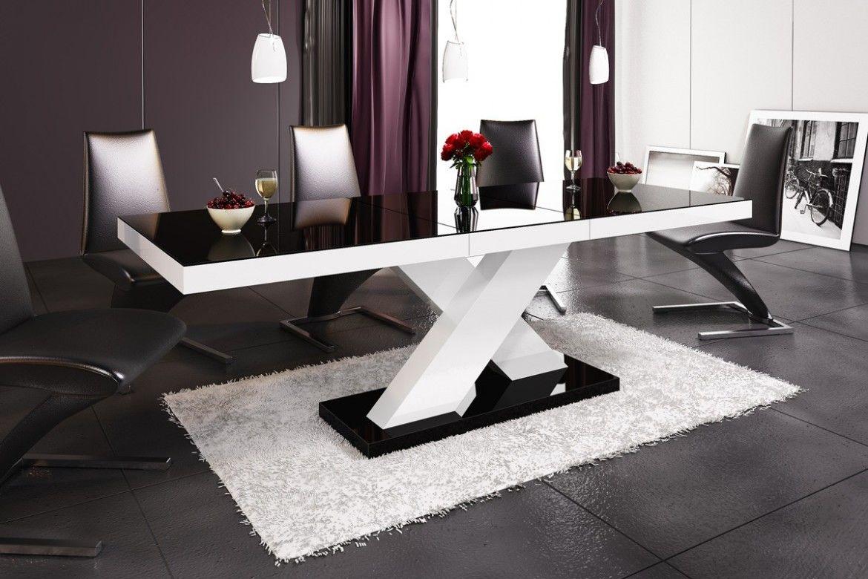 Stół rozkładany Xenon czarno-biały wysoki połysk
