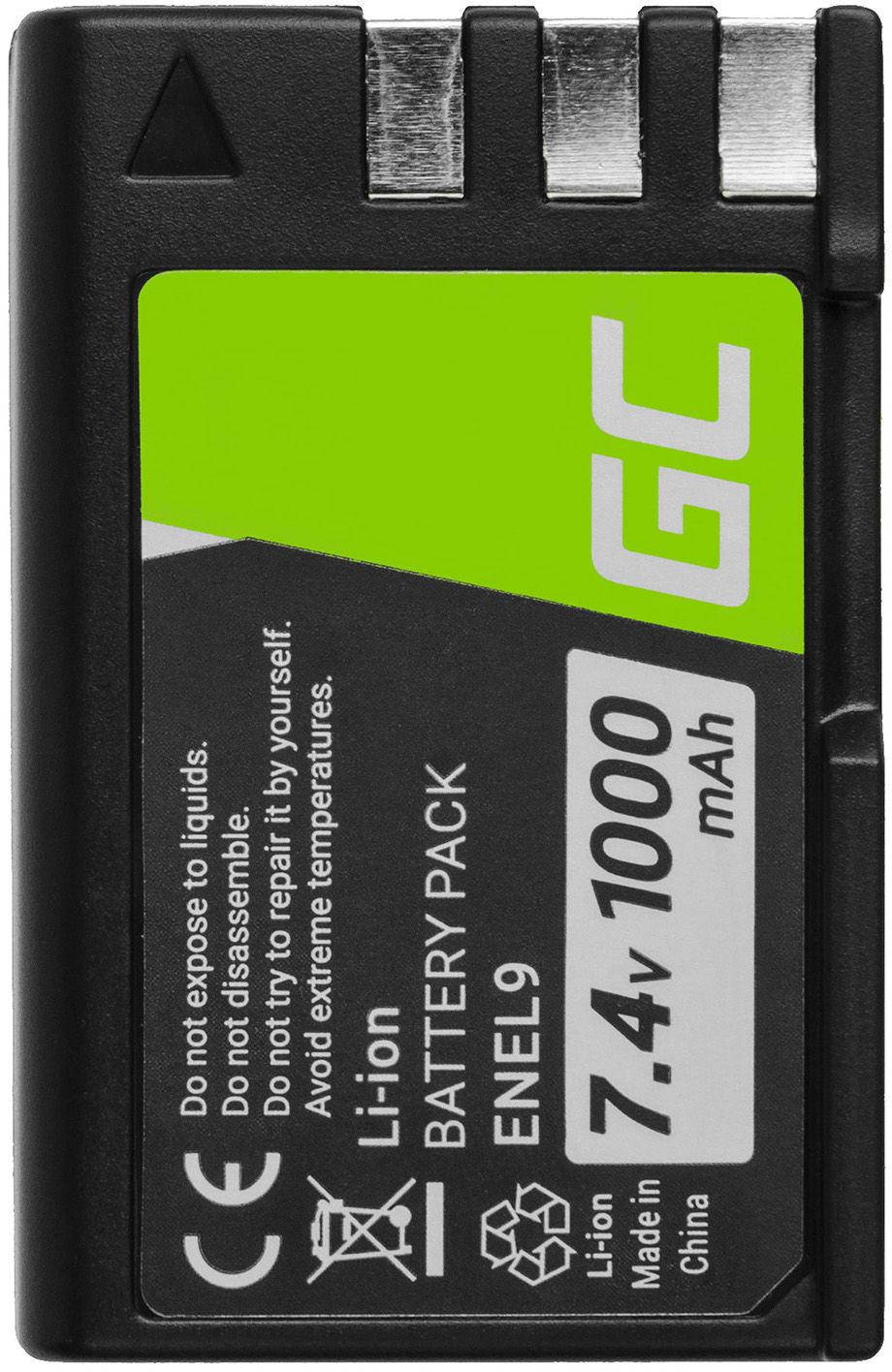 Akumulator Bateria Green Cell  EN-EL9 EN-EL9A EN-EL9E ENEL9 do Nikon DSLR D40 D40A D40C D40X D60 D3000 D5000 7.4V 1000mAh