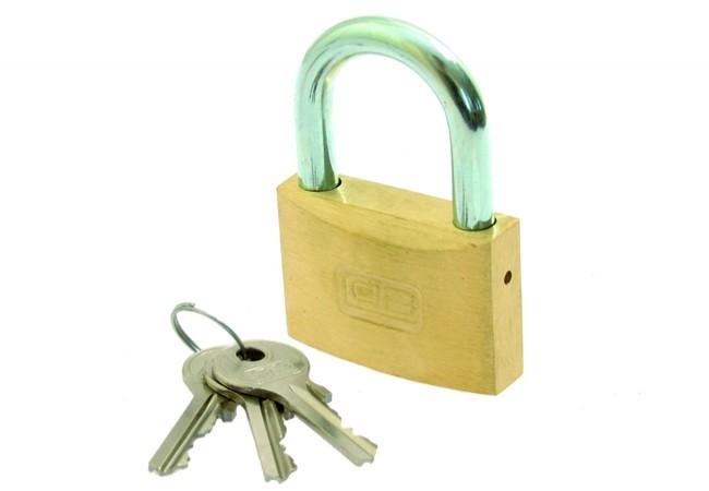 Kłódka LOB mosiężna zasuwkowa KM 50 klucz mały 3 szt.