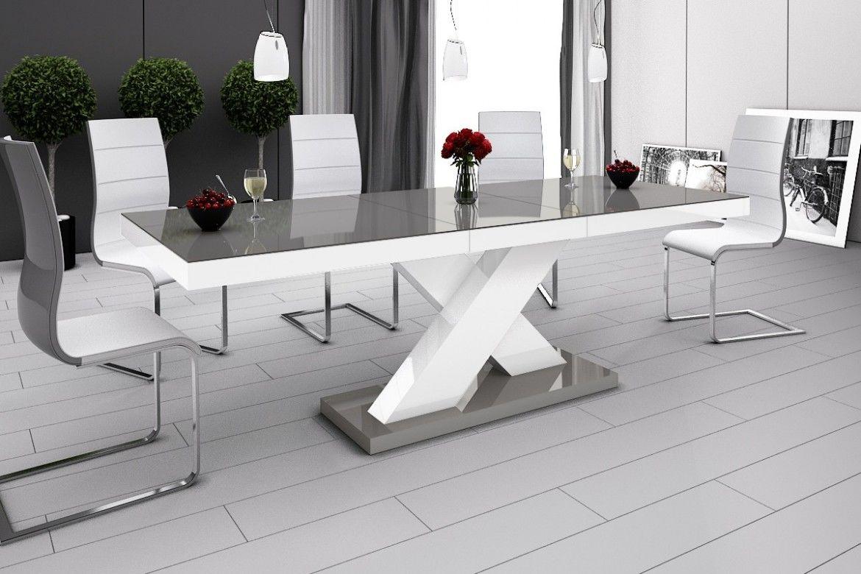 Stół rozkładany Xenon szaro-biały wysoki połysk