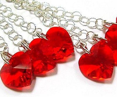 PROMOCJA Kryształy kolczyki SREBRO serca