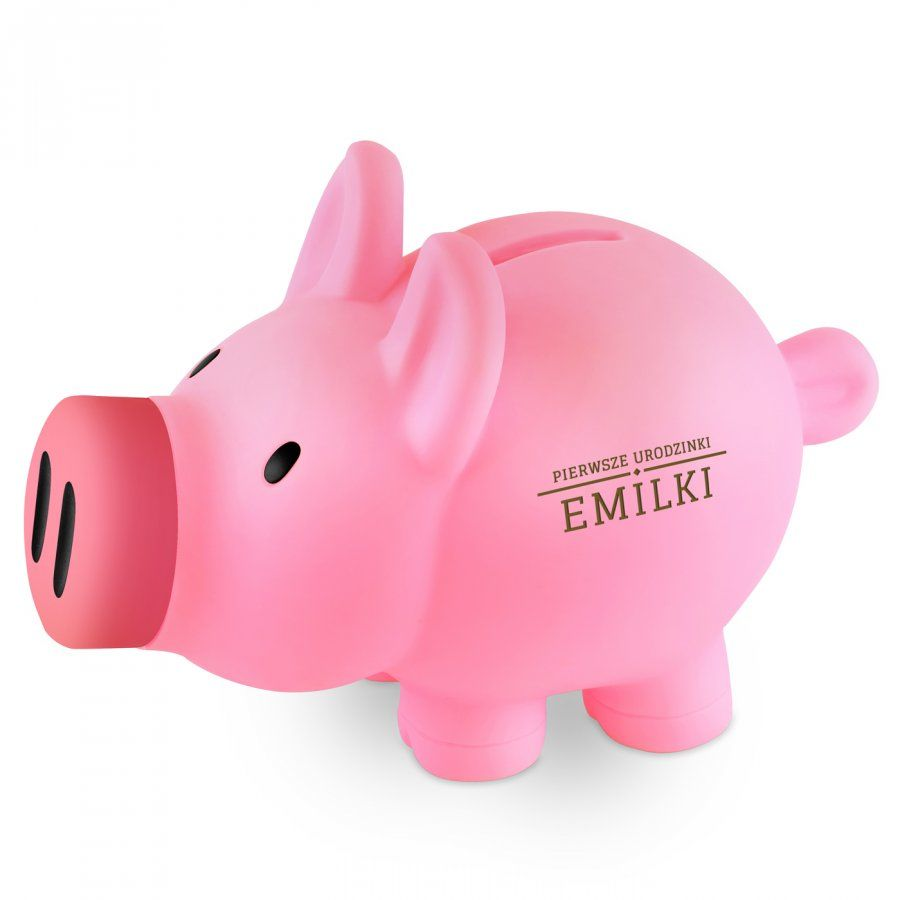 Skarbonka świnka różowa z grawerem dla dziewczynki na roczek