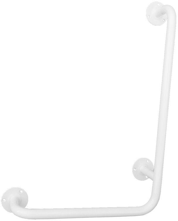 Uchwyt łazienkowy dla niepełnosprawnych kątowy fi 25 60 x 60 cm Faneco stal biała
