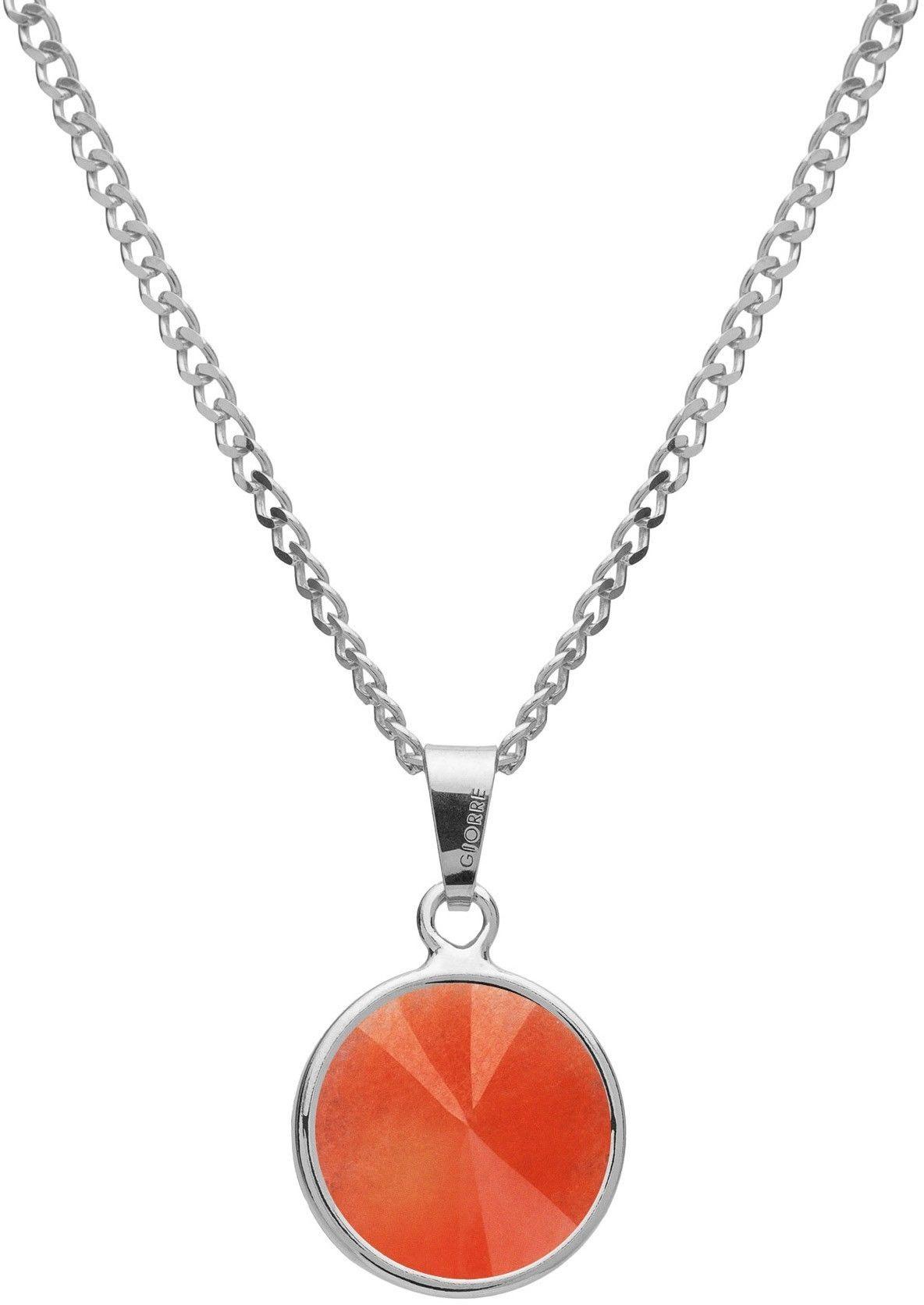 Srebrny naszyjnik z naturalnym kamieniem - jadeit, srebro 925 : Długość (cm) - 40 + 5 , Kamienie naturalne - kolor - jadeit pomarańczowy, Srebro - kolor pokrycia - Pokrycie platyną