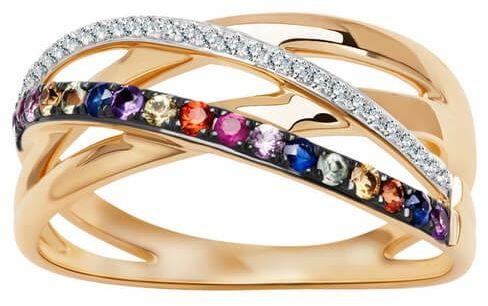 Staviori pierścionek. 26 diamentów, szlif achtkant, masa 0,08 ct., barwa h, czystość si1-i1. 2 ametysty, masa 0,03 ct.. 2 rubiny, masa 0,03 ct.. 13 szafirów, masa 0,21 ct.. żółte złoto 0,585. szerokość 9 mm.