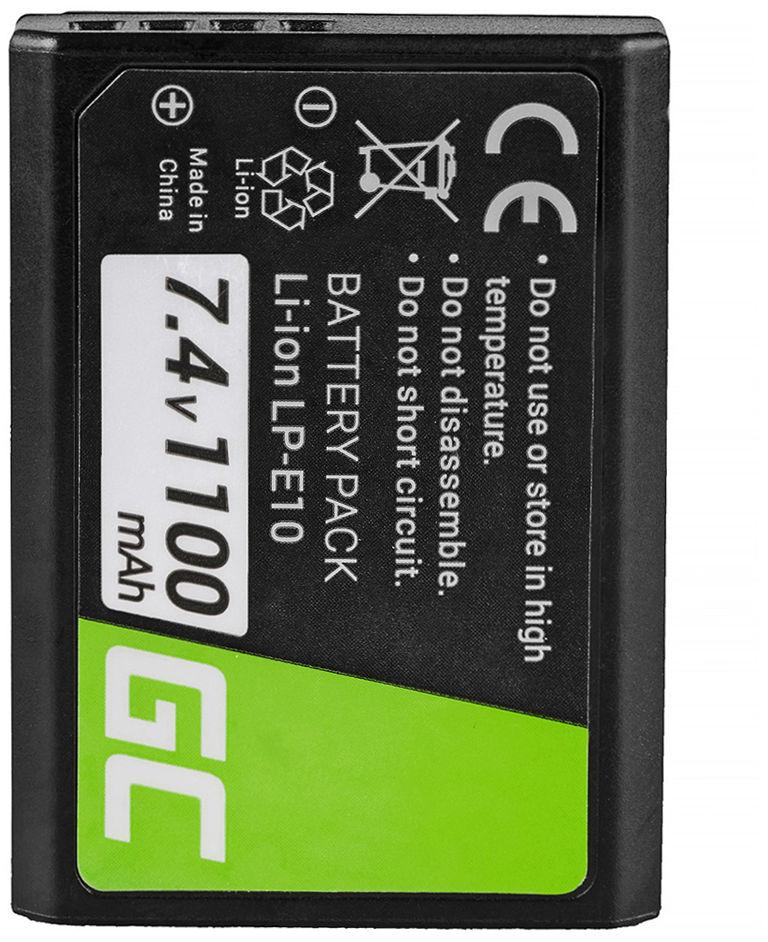 Akumulator Bateria Green Cell  LP-E10 LPE10 do Canon EOS 1100D 1200D 1300D Rebel T3 T5 T6 Kiss X50 X70 Full Decoded 7.4V 1100mAh