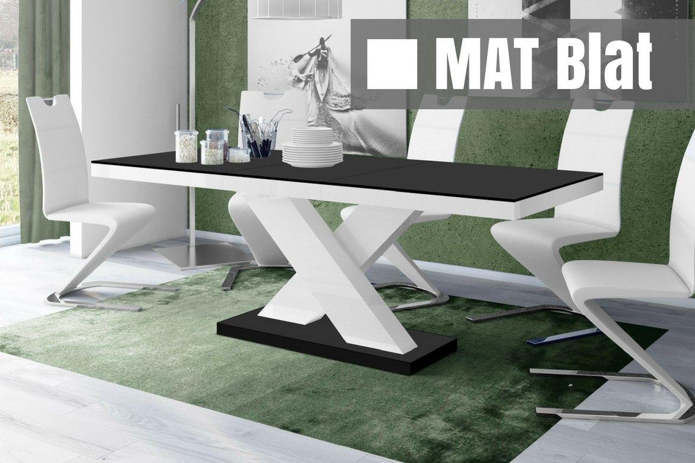 Stół rozkładany Xenon czarno-biały SUPER MAT
