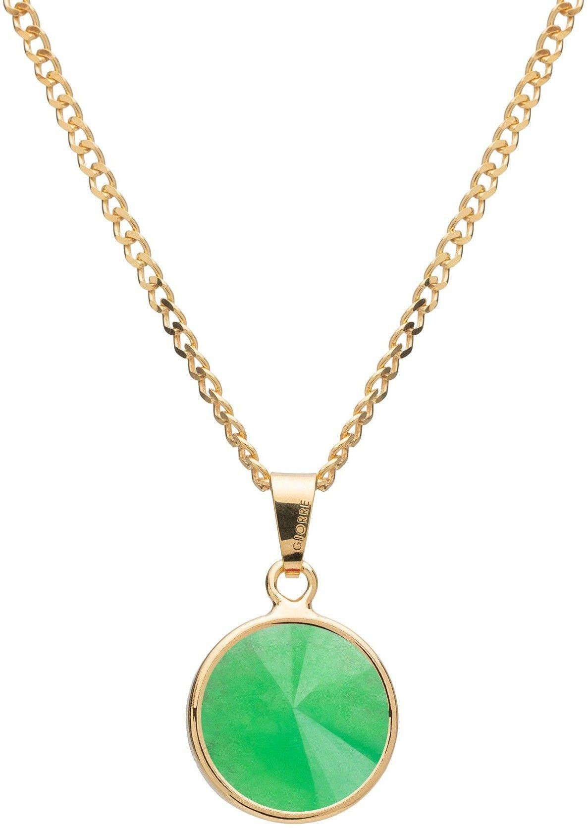 Srebrny naszyjnik z naturalnym kamieniem - chryzopraz srebro 925 : Długość (cm) - 40 + 5 , Kamienie naturalne - kolor - chryzopraz zielony ciemny, Srebro - kolor pokrycia - Pokrycie żółtym 18K złotem