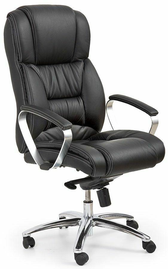 Fotel biurowy skórzany Tenar - czarny