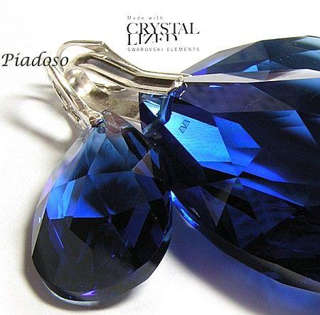 PROMOCJA Kryształy duży komplet SREBRO SZAFIR