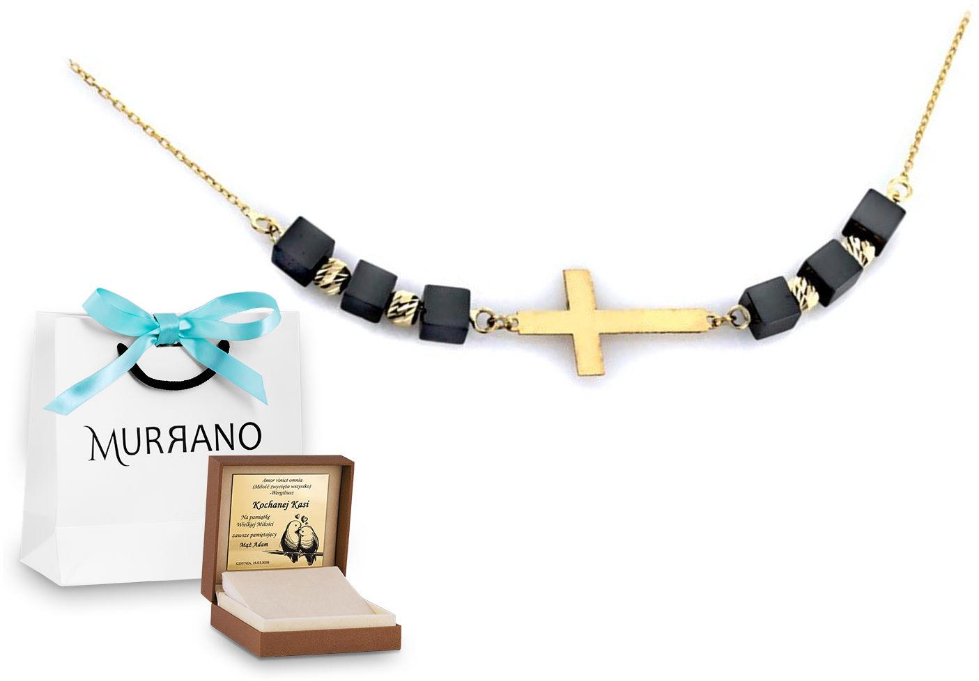 Złoty naszyjnik 585 fantazyjne krzyżyk PREZENT