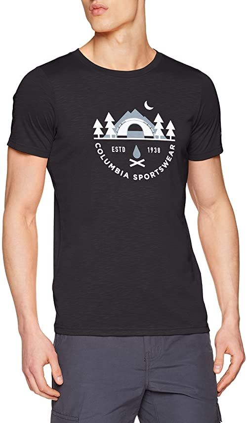 Columbia koszulka męska z krótkim rękawem Nelson Point Graphic Short Sleeve Tee, poliester/Modal szary Schwarz (Shark) M