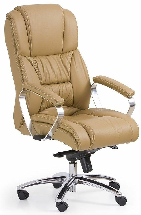 Skórzany fotel obrotowy Tenar - beżowy