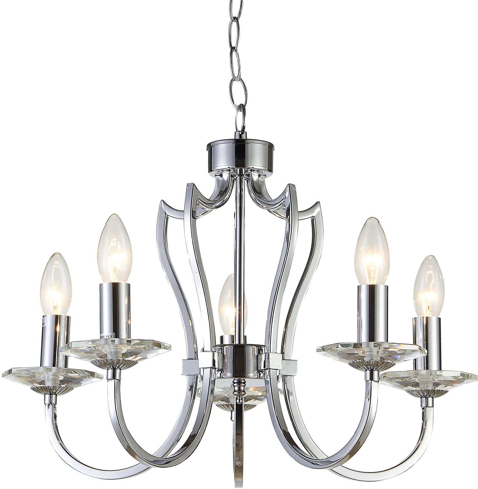 Lampa wisząca Riga P05762CH COSMOLight srebrna oprawa w stylu klasycznym