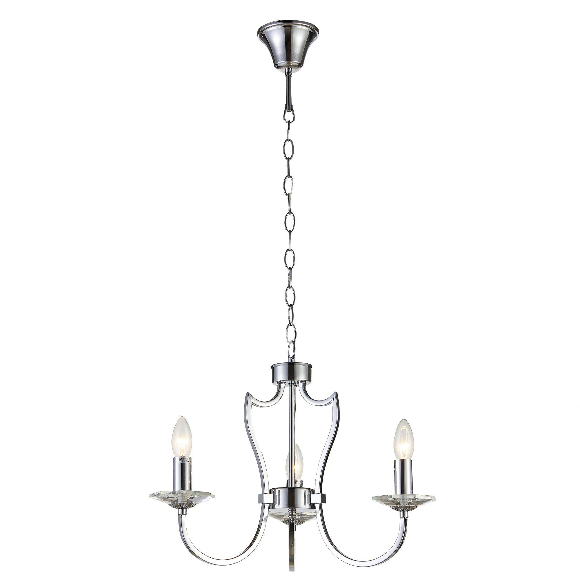 Lampa wisząca Riga P03755CH COSMOLight srebrna oprawa w stylu klasycznym
