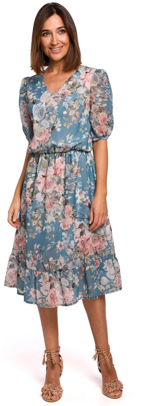 S215 Sukienka szyfonowa z falbaną - model 4