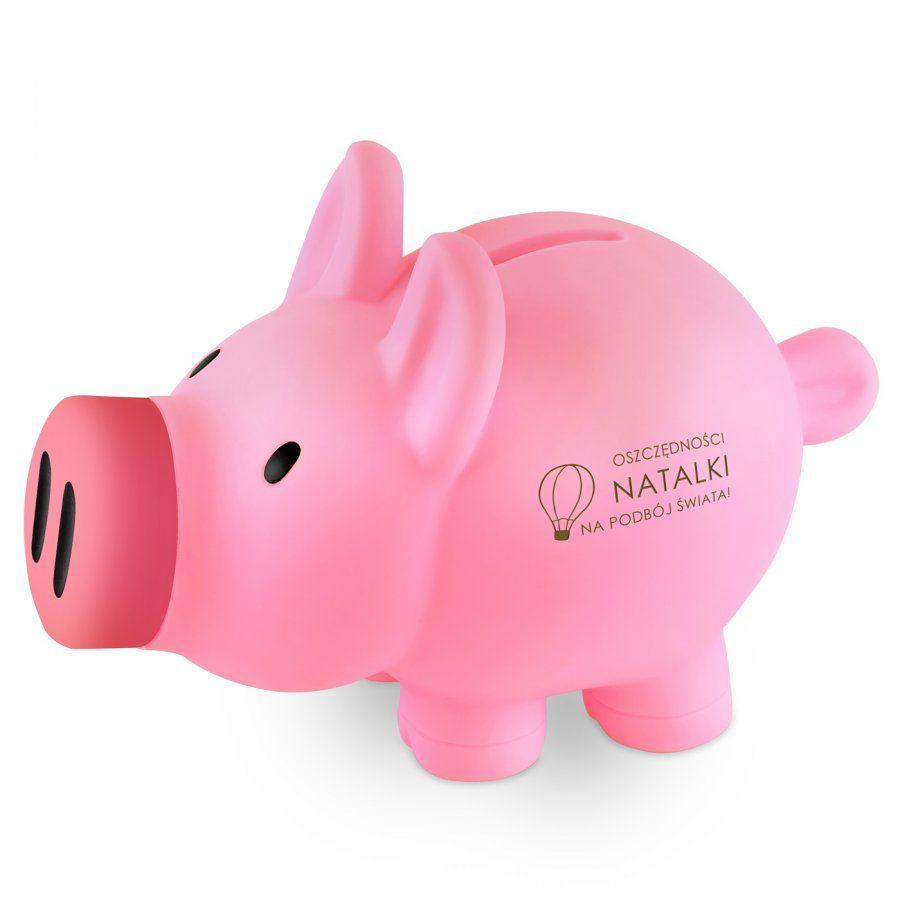 Świnka skarbonka różowa z grawerem dla dziewczynki małej podróżniczki