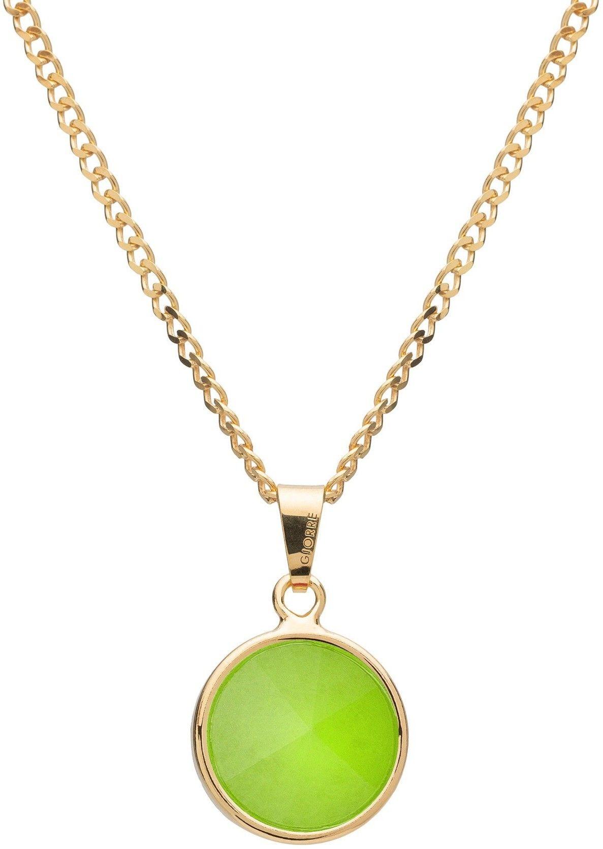 Srebrny naszyjnik z naturalnym kamieniem - chryzopraz srebro 925 : Długość (cm) - 40 + 5 , Kamienie naturalne - kolor - chryzopraz zielony jasny, Srebro - kolor pokrycia - Pokrycie żółtym 18K złotem