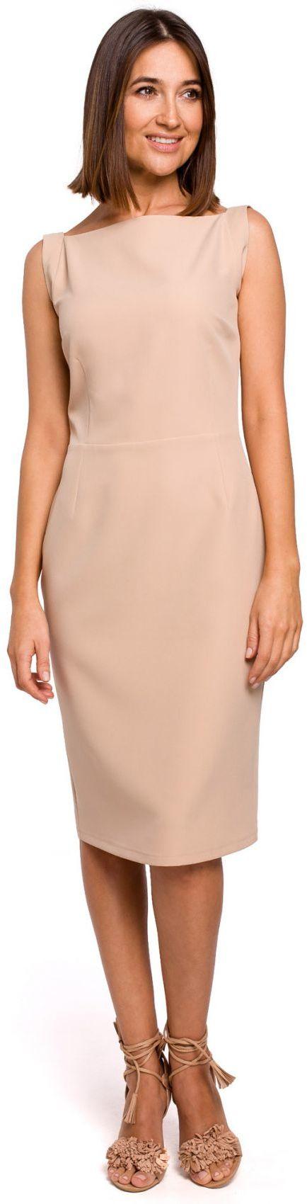 S216 Sukienka ołówkowa bez rękawów - beżowa