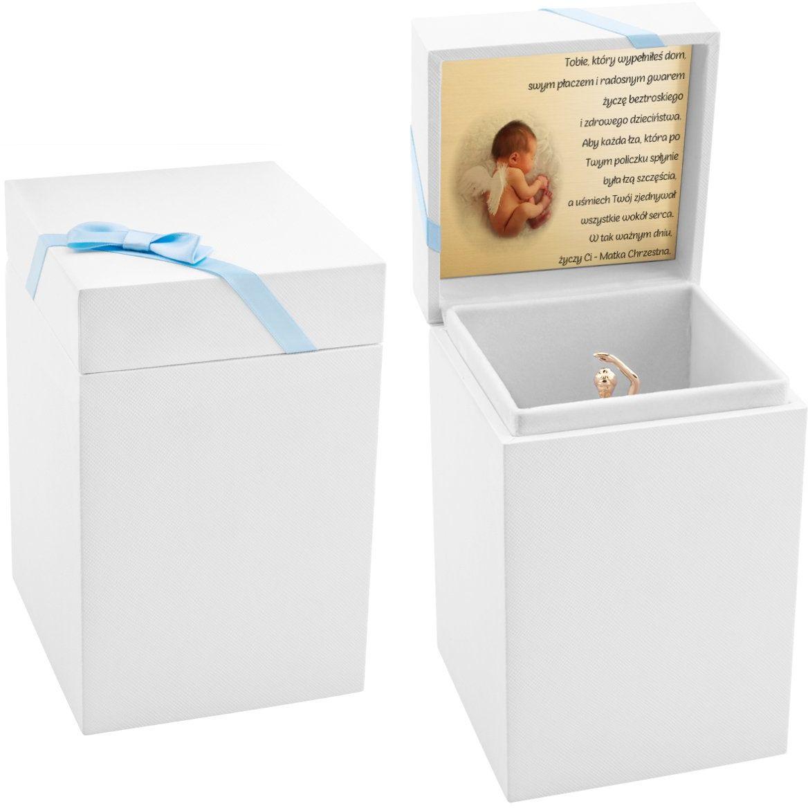 Pudełko prezentowe białe z niebieską tasiemką oraz Dedykacją