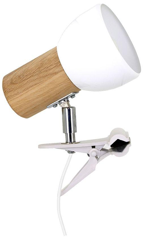 Spot Light 2224174WK Svenda Clips kinkiet lampa ścienna dąb olejowany klosz metal biały 1xE27 60W IP20 15cm