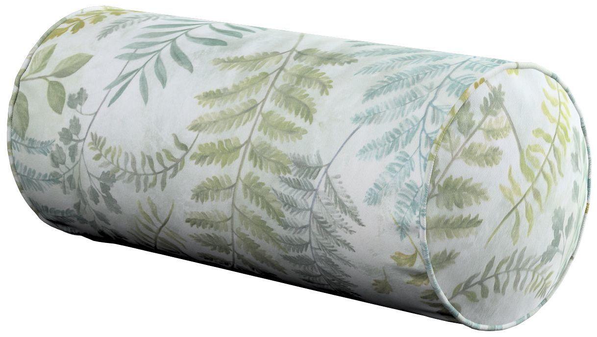 Poduszka wałek prosty, zielone gałązki na szaro pastelowym tle, Ø16  40 cm, Tropical Island