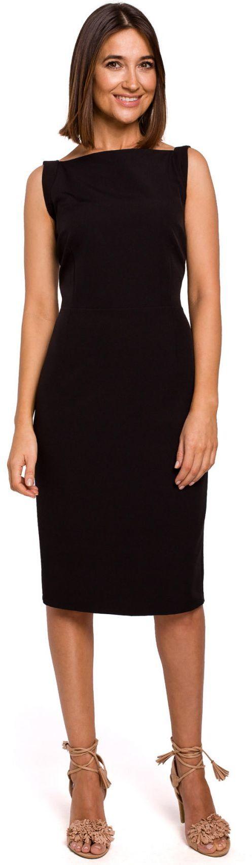 S216 Sukienka ołówkowa bez rękawów - czarna